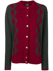 Chanel Vintage Two Tone Cashmere Cardigan Red