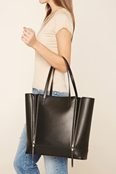 Forever 21 Zippered Faux Leather Tote Black