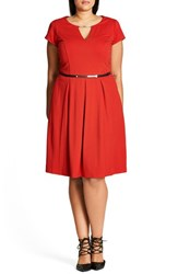 City Chic Plus Size Women's Chih Lovely Luxe Belted Fit And Flare Dress Red Scarlet