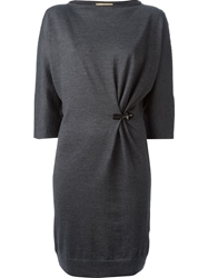 Fay Gathered Knit Dress Grey