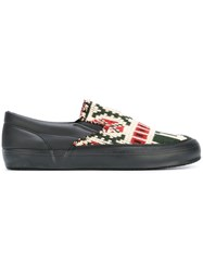 Comme Des Garcons Shirt Aztec Slip On Sneakers Green