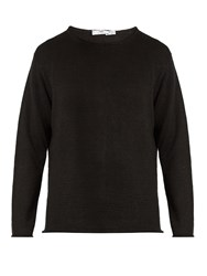 Inis Meain Crew Neck Linen Sweater Black