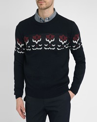 Melindagloss Navy Round Neck Sweater With Burgundy Jacquard Knit