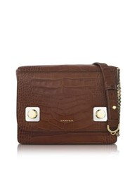 Carven Brown Croco Embossed Leather Shoulder Baf