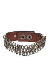 Star Usa By John Varvatos Interlink Chain Leather Bracelet Brown