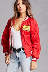 Forever 21 Repurposed Wally Track Jacket Red