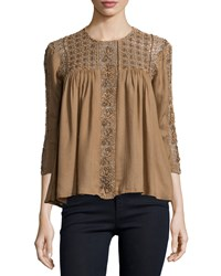 Deby Debo Lilas Embroidered Eyelet Top Dusty Brick