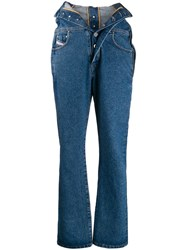Diesel Red Tag Foldover Waist Jeans Blue