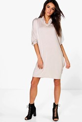 Boohoo Batwing Slouchy Dress Stone