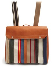 Maison Martin Margiela Striped Textile And Leather Backpack Multi