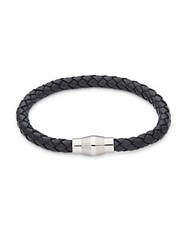Link Up Stainless Steel Braided Double Strand Leather Bracelet Black