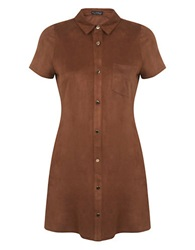 Miss Selfridge Sueded Shirt Dress Brown