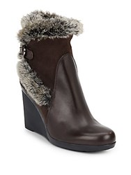 Aquatalia By Marvin K Natalie Faux Fur Trimmed Leather And Suede Wedge Booties Espresso
