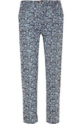 Etoile Isabel Marant Maddy Embroidered Mid Rise Straight Leg Jeans Light Denim