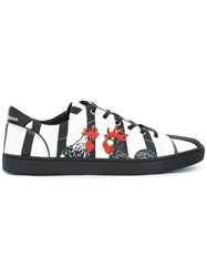 Dolce And Gabbana Rooster Print Striped Sneakers Black