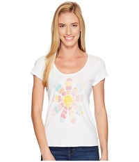 Life Is Good Daisy Patchwork Smooth Tee Cloud White Women's T Shirt