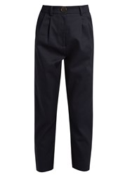 A.W.A.K.E. High Rise Cotton Cropped Chino Trousers Navy