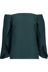Bailey 44 Off The Shoulder Silk Crepe De Chine Top Forest Green