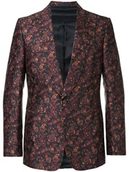 Gieves And Hawkes Floral Print Blazer Blue