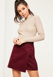 Missguided Burgundy Cotton Wrap Over Pocket Front Skirt