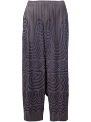 Issey Miyake Pleats Please By Tribal Print Pleated Trousers Grey
