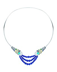 White Gold Peacock Multi Stone Necklace Lalique Blue