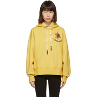 Palm Angels Yellow Flowers Cropped Hoodie