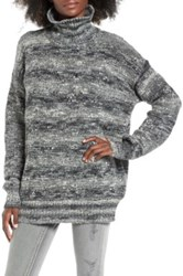 Leith Funnel Neck Tunic Sweater Gray