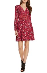 Willow And Clay Crochet Detail Faux Wrap Dress Scarlet
