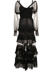 Jonathan Simkhai Lace Tulle Ruffle Dress Black