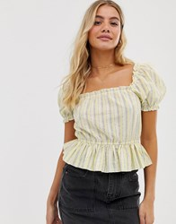 Miss Selfridge Peplum Top With Puff Sleeves In Stripe Yellow
