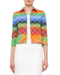 Akris Punto 3 4 Sleeve Cropped Baseball Net Print Jacket Multi Color