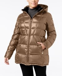 Calvin Klein Plus Size Hooded Packable Puffer Coat Only At Macy's Shine Taupe