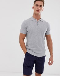 Selected Homme Knitted Polo In Waffle Texture Organic Cotton Grey