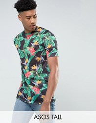 Asos Tall Longline T Shirt In Linen Look Fabric With Digital Floral Black