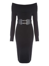 Jane Norman Bardot Belted Jumper Dress Black