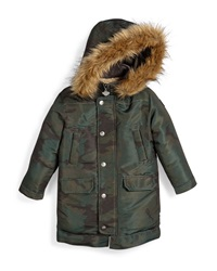 Appaman Pratt Hooded Down Parka Coat Size 4 14 Forest Night Camo