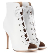Gianvito Rossi Marie Peep Toe Leather Ankle Boots White