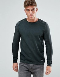 Solid Sweatshirt In Oil Wash With Knitted Rib Sleeves Black
