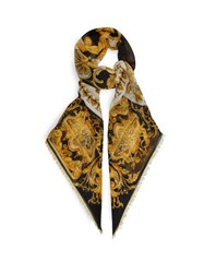 Versace Baroque Pattern Wool Blend Scarf Gold