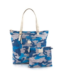 Bric's X Bag Camouflage Vertical Foldable Tote Light Blue