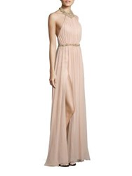 Marchesa Embellished Silk Halter Gown Blush