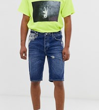 Reclaimed Vintage Denim Shorts With Distressing And Bleaching Blue