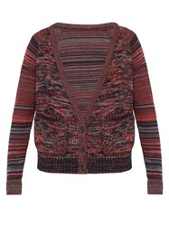 Bless Striped Sleeve Wool Cardigan Red Multi