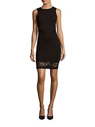 French Connection Beau Lace Trimmed Sheath Dress Black