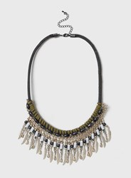 Dorothy Perkins Cord And Leaf Collar Necklace Green