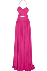 Michael Kors Collection Cutout Gathered Stretch Cady Gown Magenta