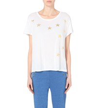 Sundry Metallic Star Cotton Jersey T Shirt White