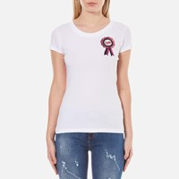 Love Moschino Women's Fitted Logo T Shirt Optical White
