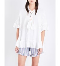 See By Chloe Kaftan Style Cotton And Linen Blend Top White